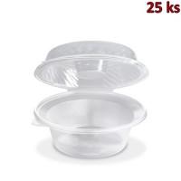 Salátová miska průhledná s víčkem na dresink misku, 2100 ml (PP) [25 ks]