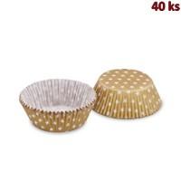 Cukr. košíčky zlaté s bílými hvězdičkami Ø 50x30mm [40ks]