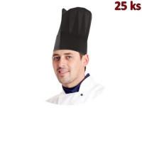 Kuchařské čepice papírové černé 23cm [10 ks]